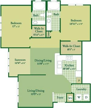 Floorplan for Forrester with Sunroom at Abberly Green Apartment Homes, North Carolina