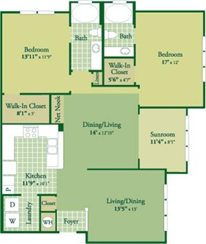 Floorplan for Forrester II at Abberly Green Apartment Homes, Mooresville North Carolina