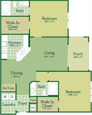 Floorplan for Gallagher I with Garage at Abberly Green Apartment Homes, Mooresville, NC