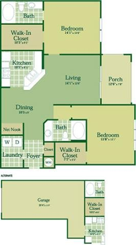 Floorplan for Keane at Abberly Green Apartment Homes, Mooresville, NC 28117