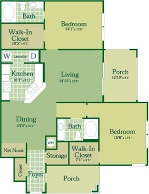 Floorplan for Lowell at Abberly Green Apartment Homes, Mooresville, NC
