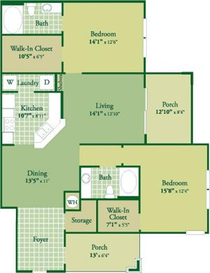 Floorplan for Lowell II at Abberly Green Apartment Homes, Mooresville