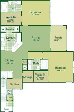 Floorplan for Madigan at Abberly Green Apartment Homes, Mooresville, 28117