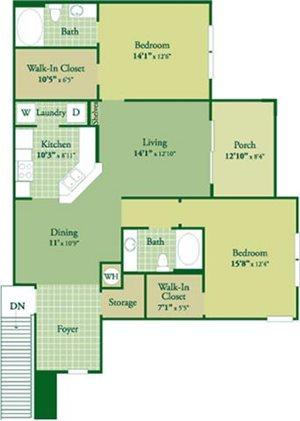 Floorplan for Madigan II at Abberly Green Apartment Homes, North Carolina