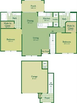 Floorplan for Quinn at Abberly Green Apartment Homes, Mooresville North Carolina