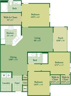 Floorplan for Ryan II at Abberly Green Apartment Homes, Full State, 28117