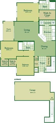 Floorplan for Shanley I with Garage at Abberly Green Apartment Homes, Mooresville North Carolina