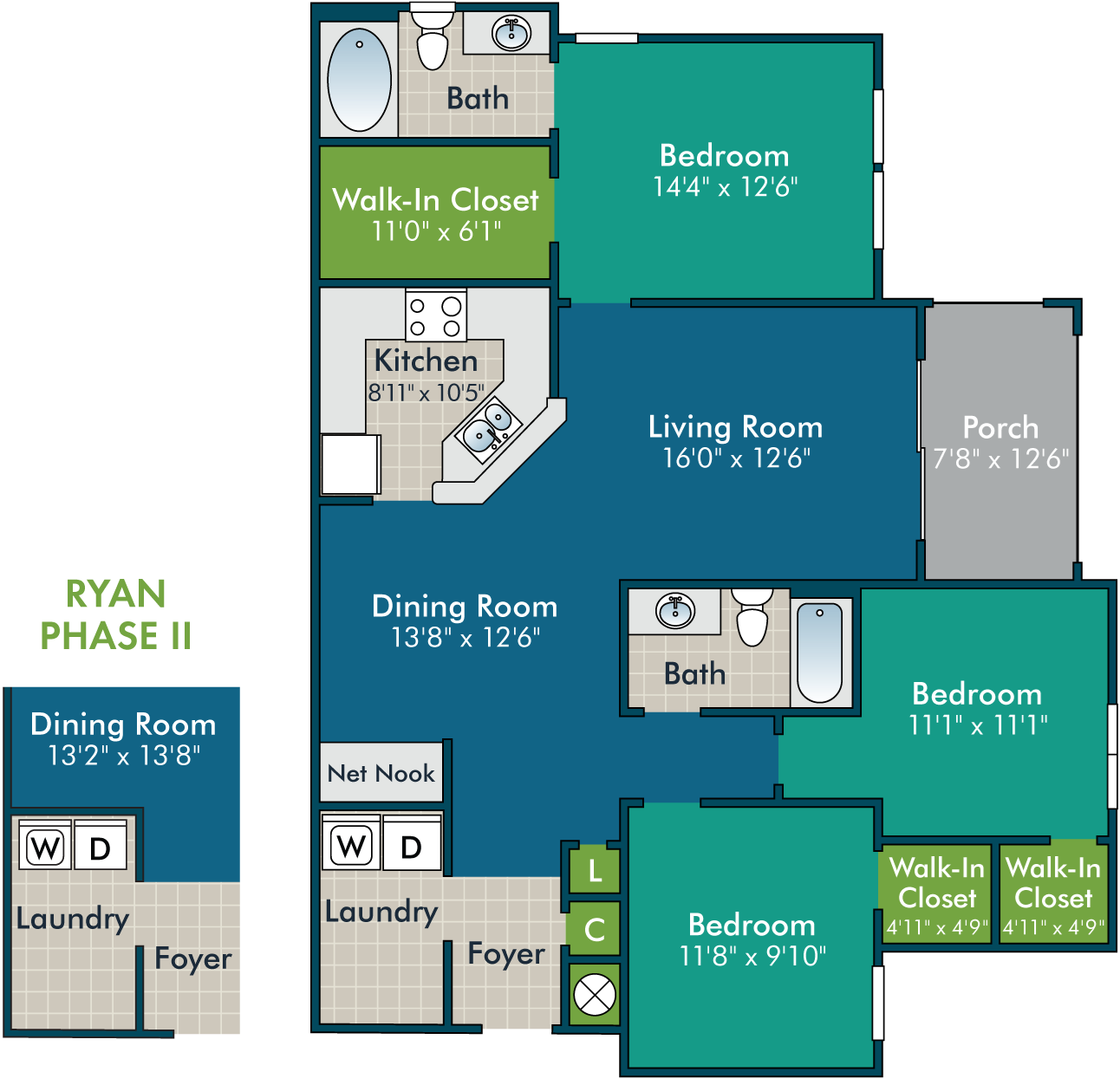 Ryan_3BR2BA Floor Plan at Abberly Green Apartment Homes by HHHunt, Mooresville