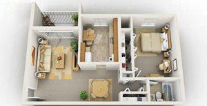 1 Bedroom Floorplan at Foxridge Apartment Homes, Virginia