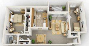 1 Bedroom with Den Floorplan at Foxridge Apartment Homes, Virginia, 24060