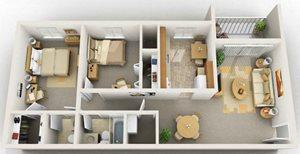 2 Bedroom Floorplan at Foxridge Apartment Homes, Blacksburg, VA, 24060