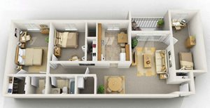 2 Bedroom with Den Floorplan at Foxridge Apartment Homes, Blacksburg, VA