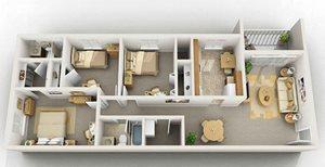 3 Bedroom Floorplan at Foxridge Apartment Homes, Blacksburg, 24060