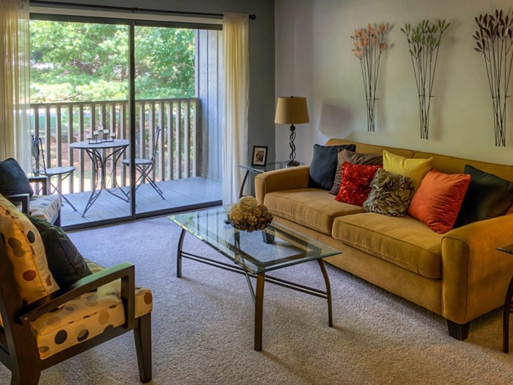 Private Balcony With Garden View at Walden Pond Apartment Homes, Lynchburg, Virginia