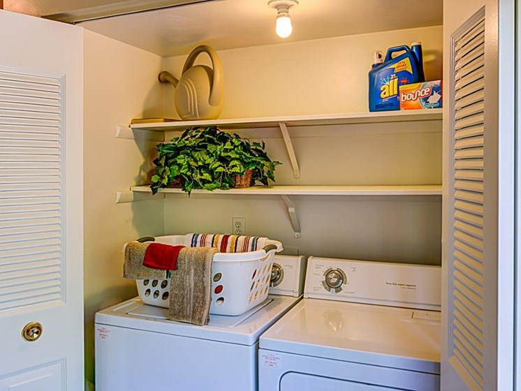 In Home Full Size Washer and Dryer With Storage Space at Walden Pond Apartment Homes by HHHunt, Lynchburg