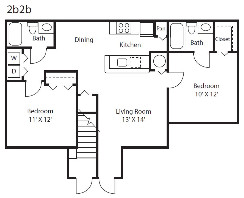 2x2 Floor Plan 1
