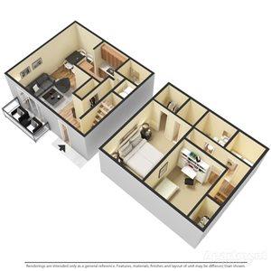 2 Bedroom | 1 Full Bath and 2 Half Bath Townhome