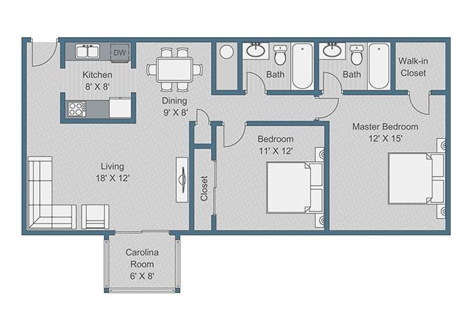 2x2 Deluxe Floor Plan at Sterling Bluff Apartments, Savannah, GA
