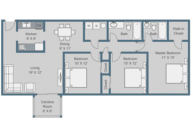 3x2 Deluxe Floor Plan at Sterling Bluff Apartments, Georgia, 31406
