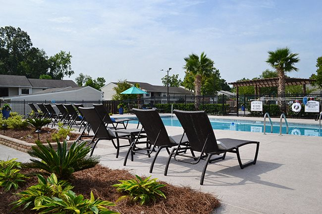 Pool Side Relaxing Area at Sterling Bluff Apartments, Savannah, GA,31406