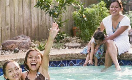 stock image- family swimming