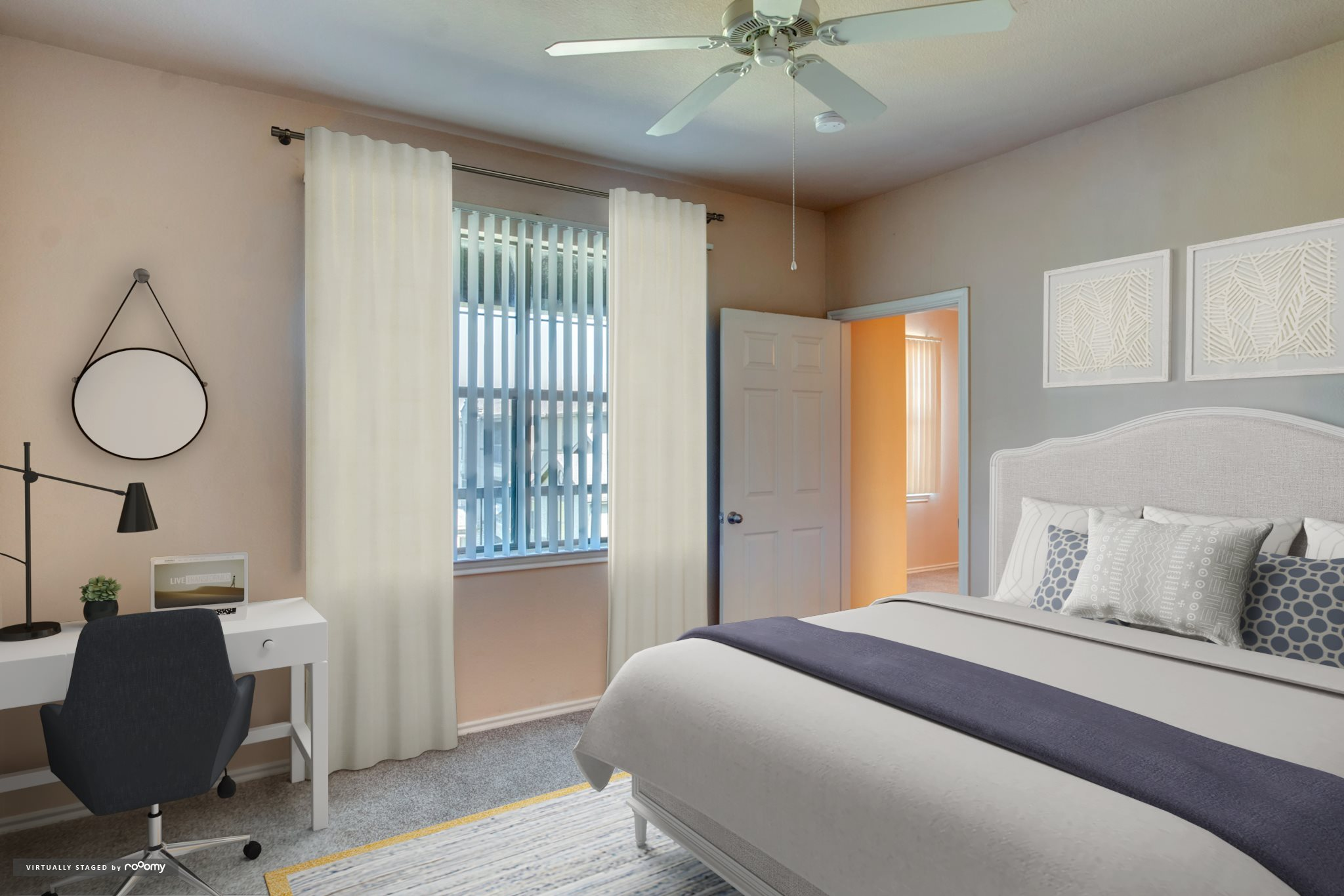 render-bedroom with large window and ceiling fan