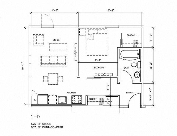 1x1 Floor Plan 7