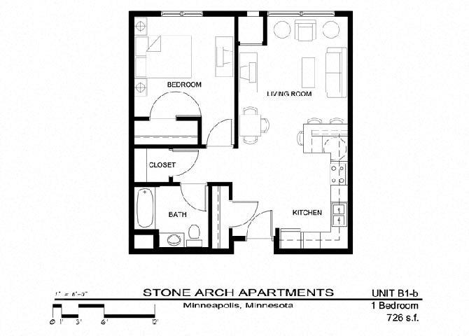 1x1 Floor Plan 5