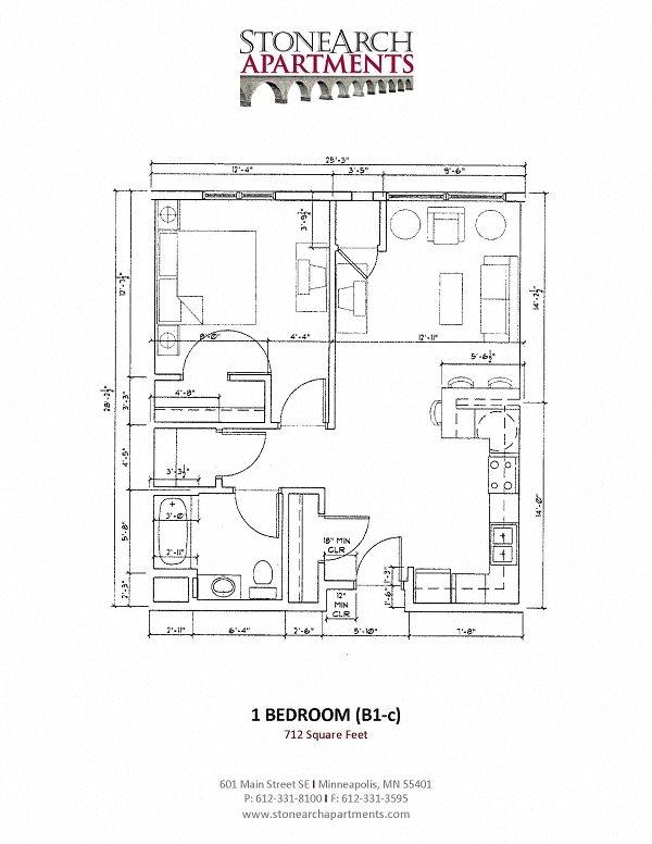 1x1 Floor Plan 6