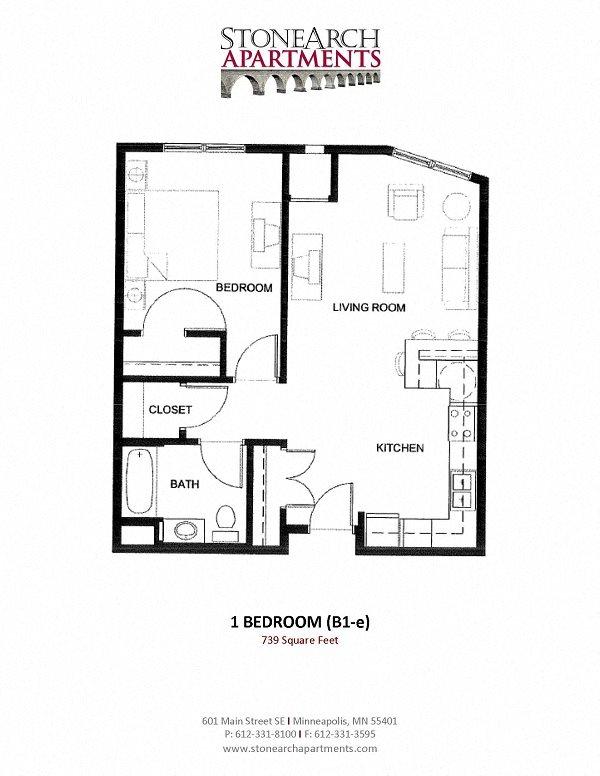 1x1 Floor Plan 8