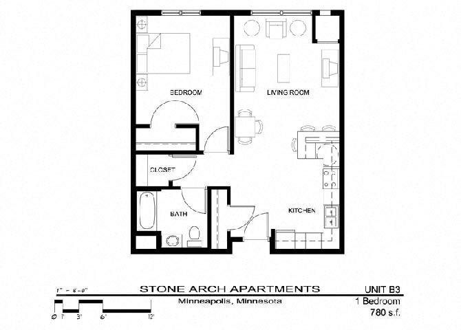 1x1 Floor Plan 11