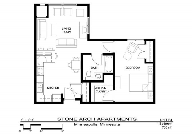 1x1 Floor Plan 12
