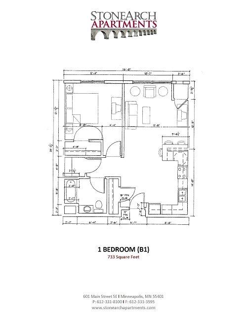 1x1 Floor Plan 4