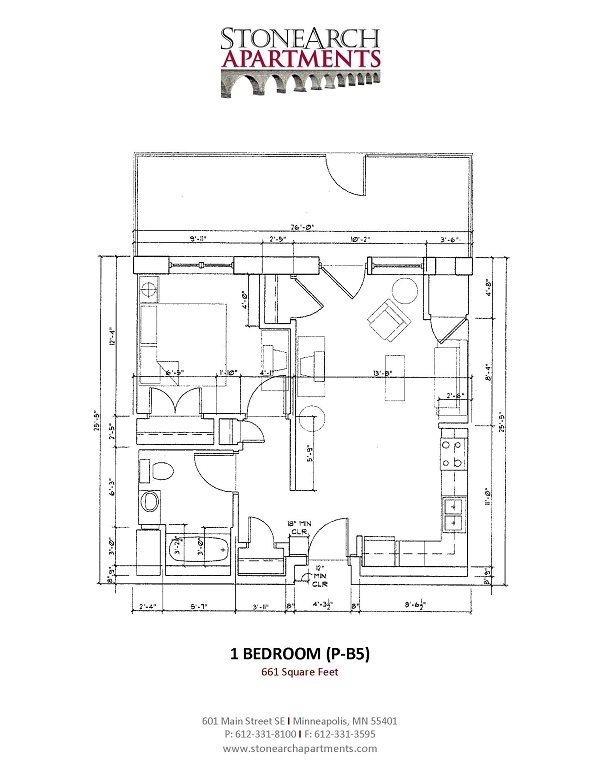 1x1 Floor Plan 29