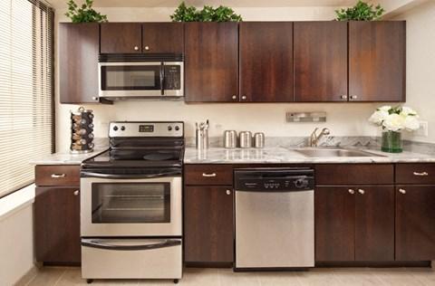 Custom Wood Cabinetry, Stone Tile Floors, Breakfast Bars and Granite Countertops at McClurg Court.