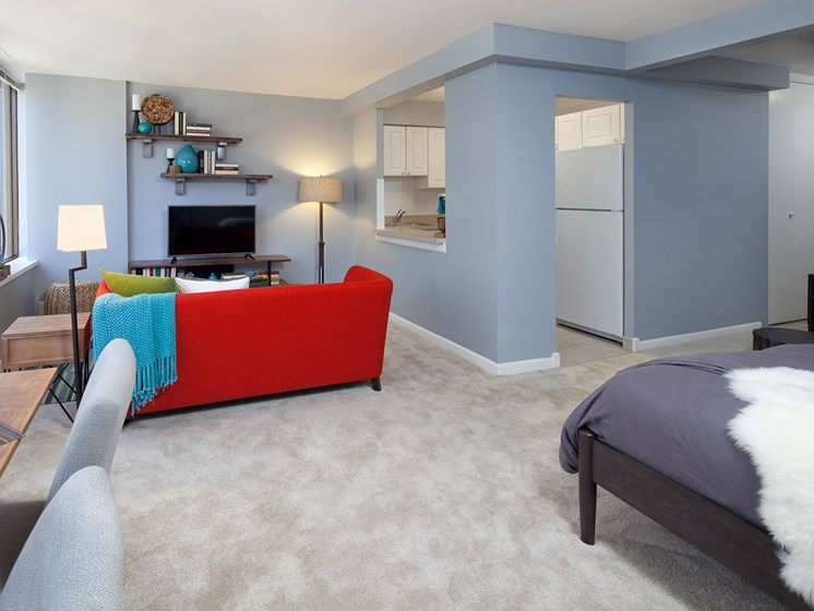 Studio apartment with lakefront view of Chicago at McClurg Court.