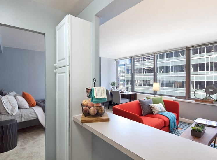 Spectacular views of Streeterville from your studio apartment at McClurg Court.