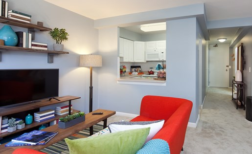 Thoughtful studio layouts available at McClurg Court in Streeterville.