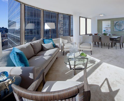 Downtown Chicago living room views at McClurg Court.