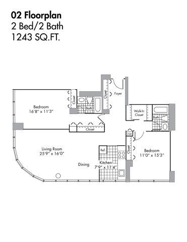 2 Bed/2 Bath - 1243 SQFT Floor Plan 16