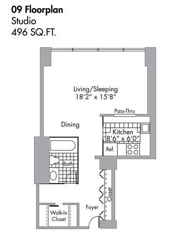Studio - 496 SQFT Floor Plan 3