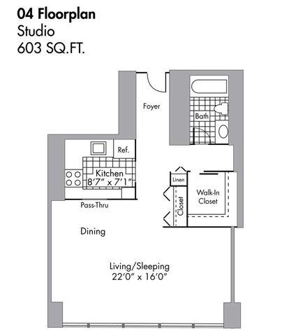 Studio - 603 SQFT Floor Plan 1