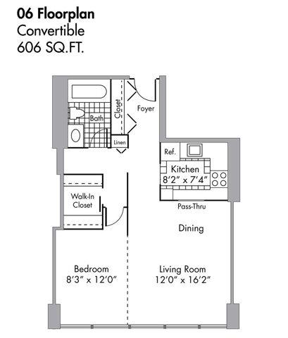 Convertible - 606 SQFT Floor Plan 6
