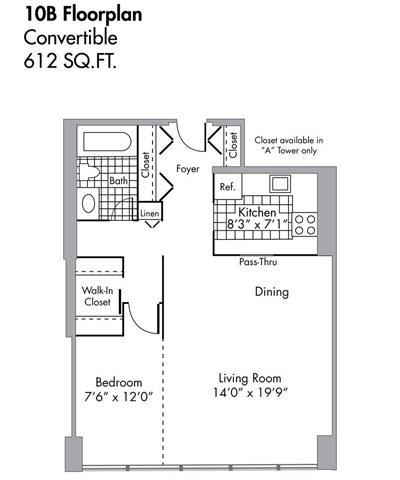 Convertible - 612 SQFT Floor Plan 5