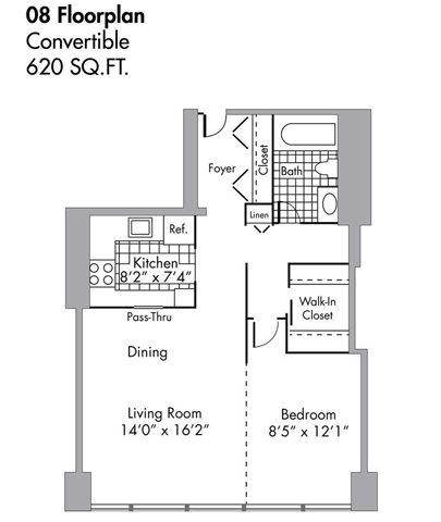 Convertible - 620 SQFT Floor Plan 2