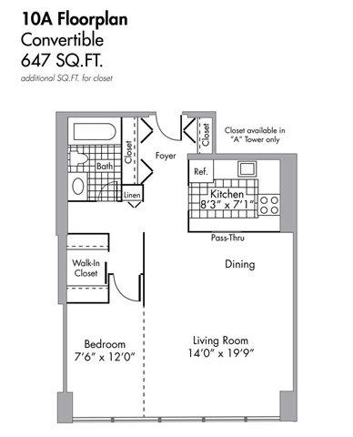 Convertible - 647 SQFT Floor Plan 4