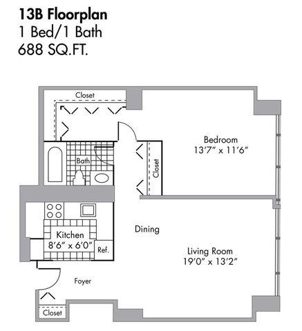 1 Bed/1 Bath - 688 SQFT Floor Plan 9
