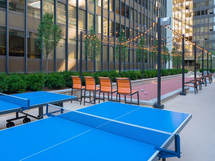 bocce ball and ping pong at McClurg Court in Chicago