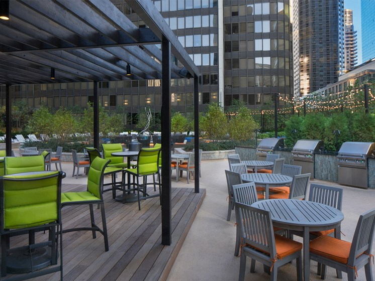 Grill stations and seating for al fresco cooking and dining at McClurg Court.