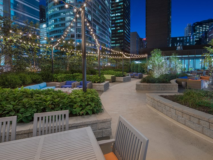Professionally landscaped 15,000+ square foot sun deck at McClurg Court.